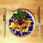 【北欧ダイエット:2日目】ランチボックス・ハムのサラダ・キノコのソテー&オムレツ